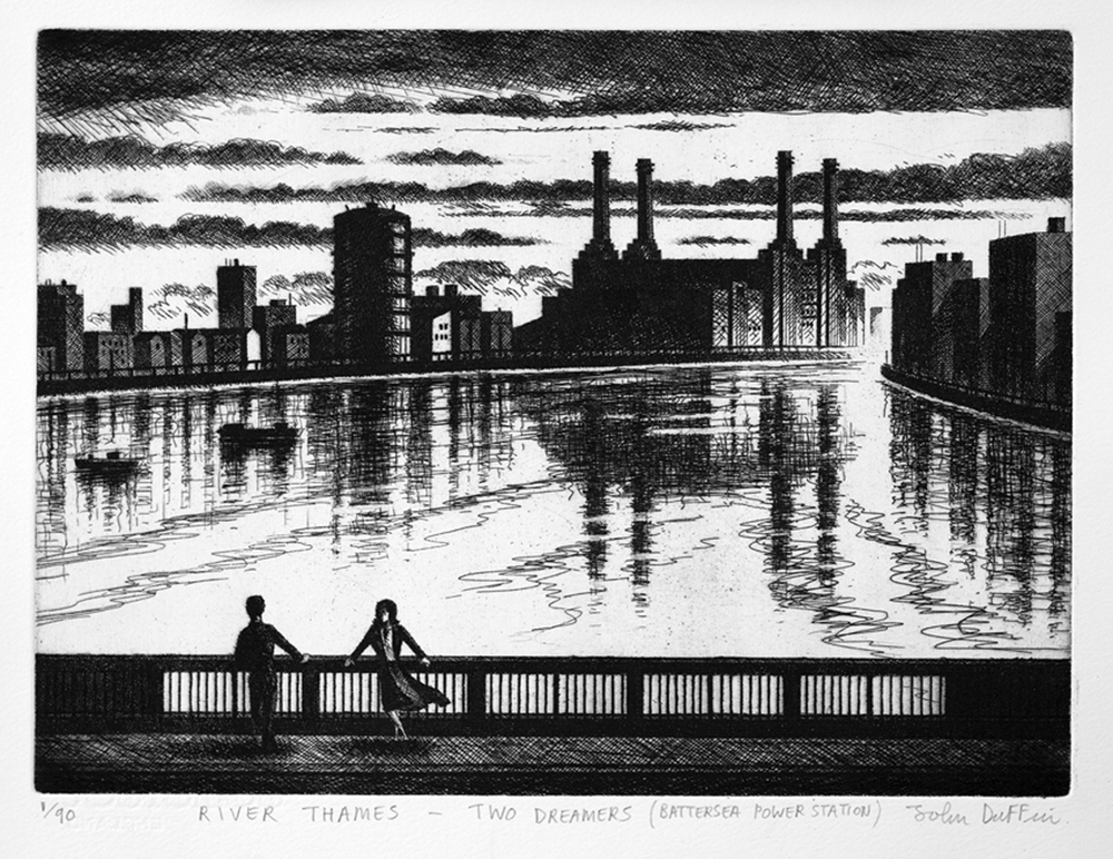 John Duffin   River Thames - Two Dreamers (Battersea Power Station)   etching