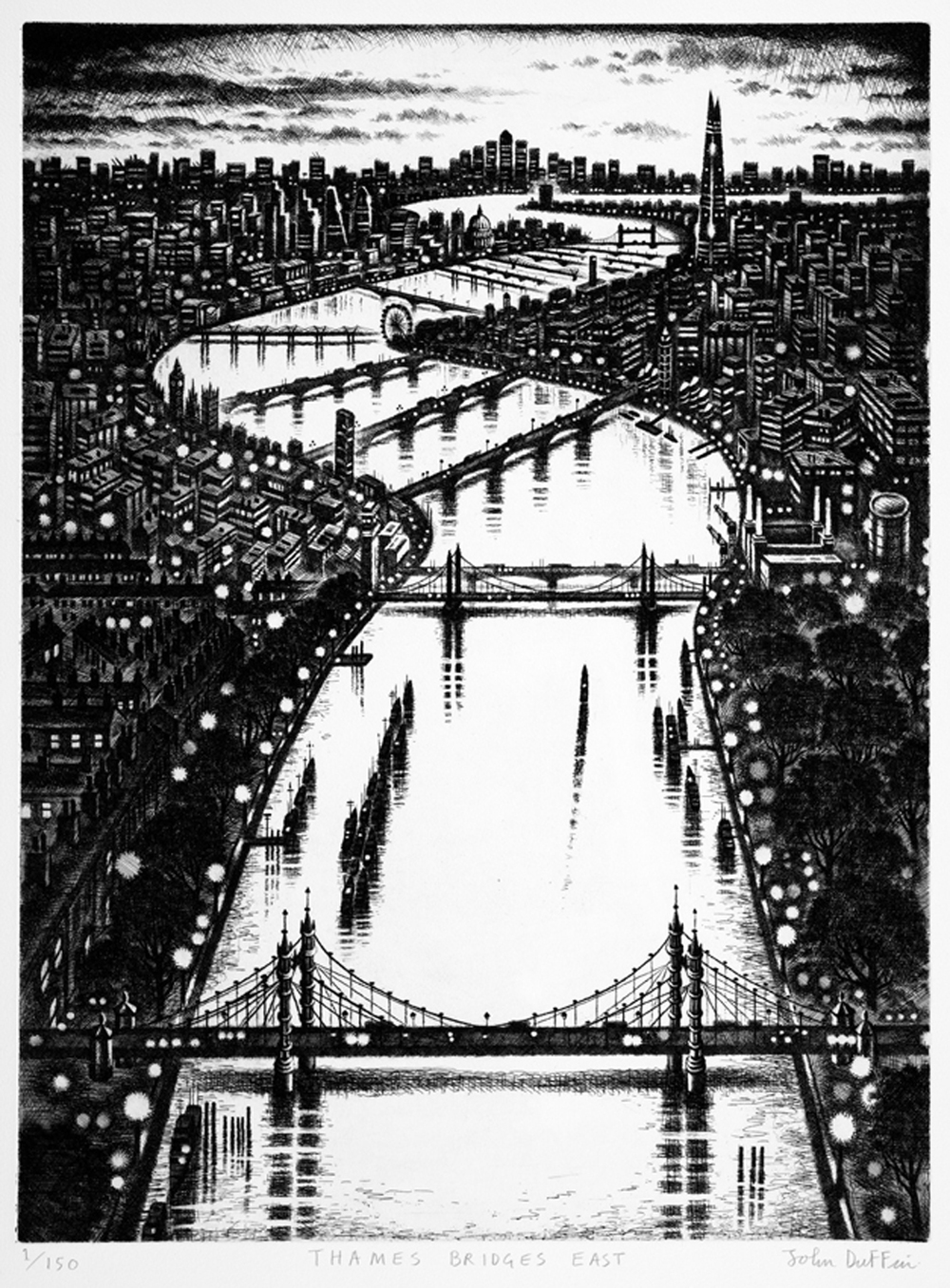 John Duffin   Thames Bridges East   etching