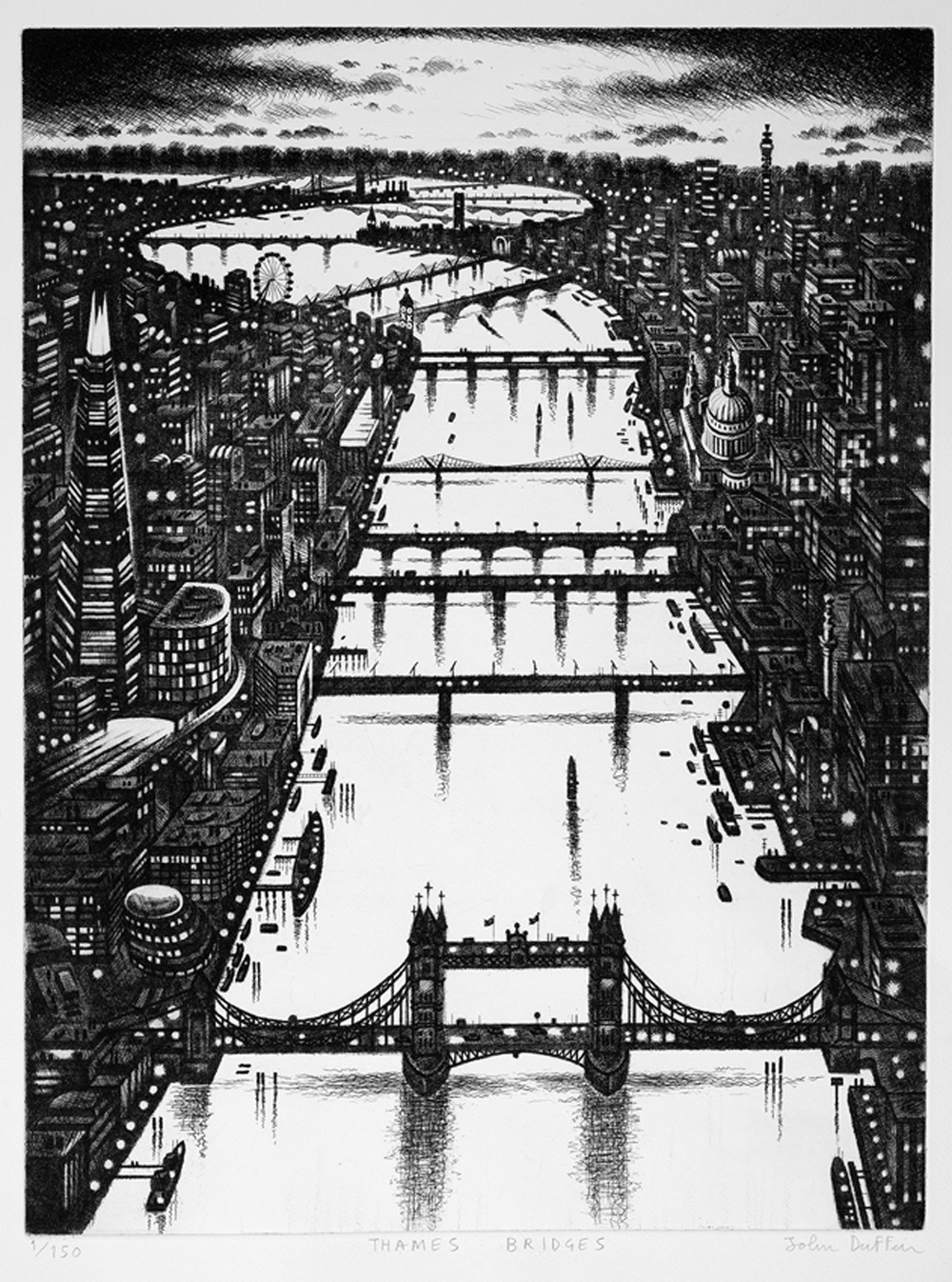 Thames Bridges etching