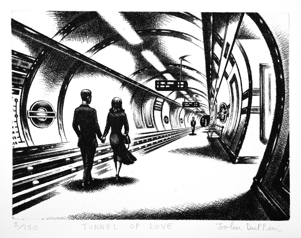John Duffin   Tunnel of Love   etching