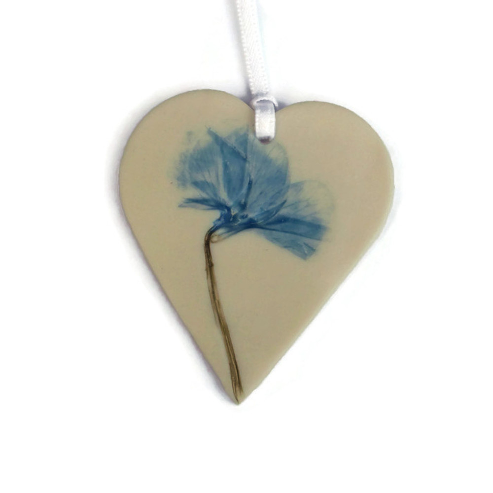 Blue Flower Hanging Heart Decoration porcelain £7