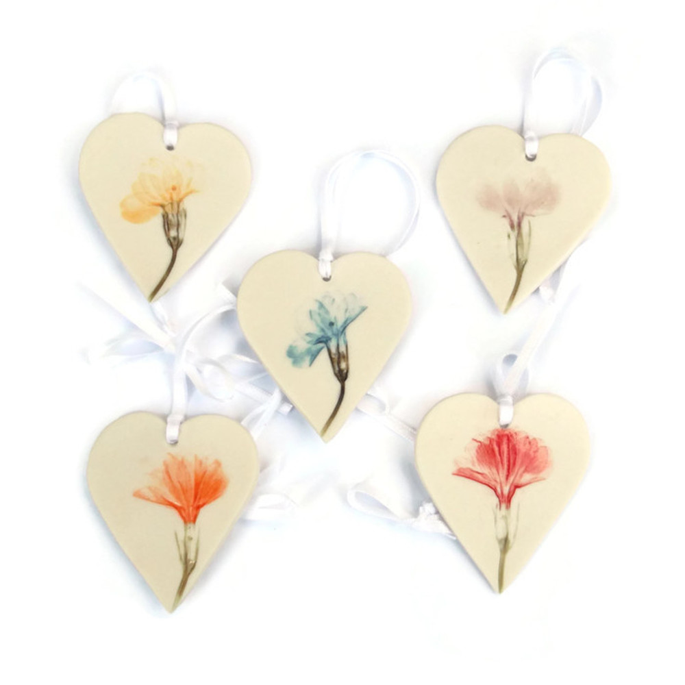 Hanging Heart Decorations with Pressed Flowers   porcelain    £7