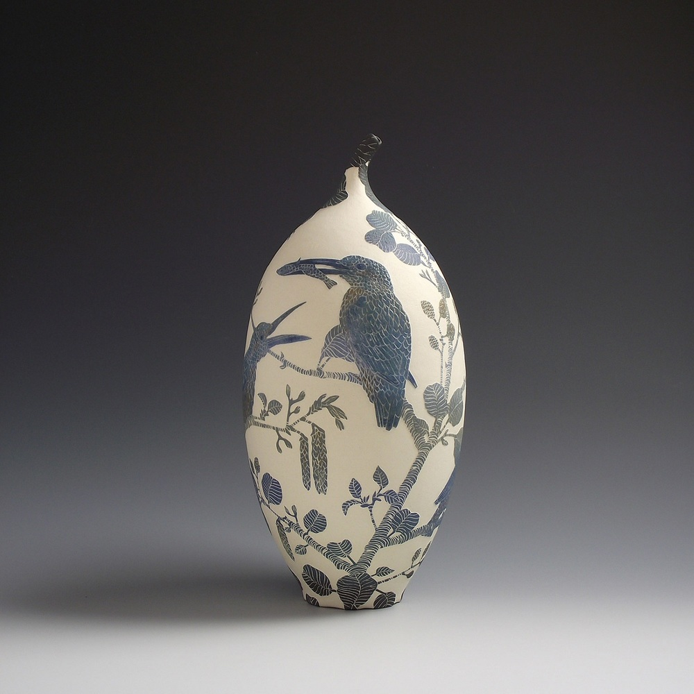 Kingfisher's and Minnow Vessel sgraffito