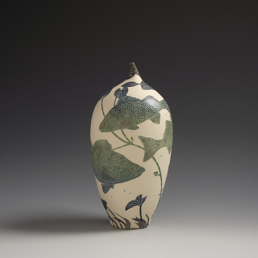 Perch & Water-Lily Vessel sgraffito