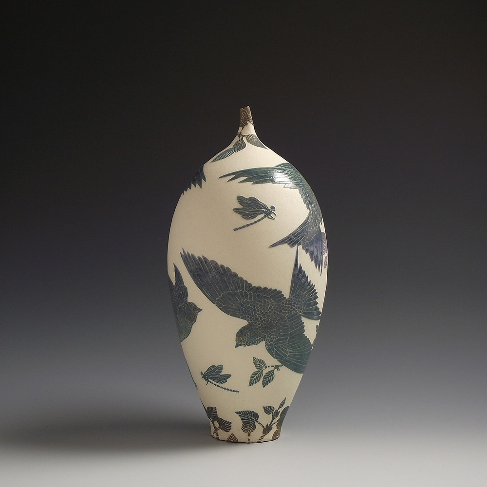 Swallows Flying with Damselfly Vessel sgraffito
