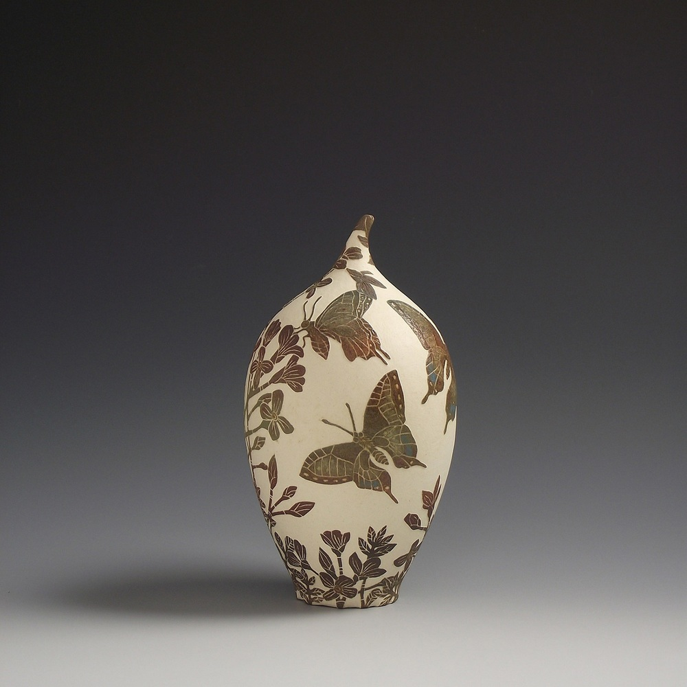 Swallow Tailed Butterfly & Cuckoo Flower Vessel sgraffito