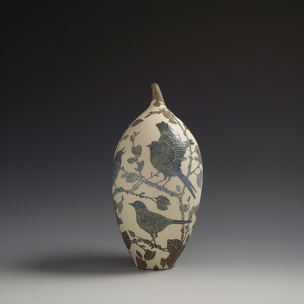 Wagtails and Pussy Willow Vessel sgraffito