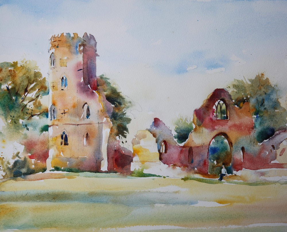 Wimpole Hall Folly,Autumn watercolour 50 x 40 cm £475