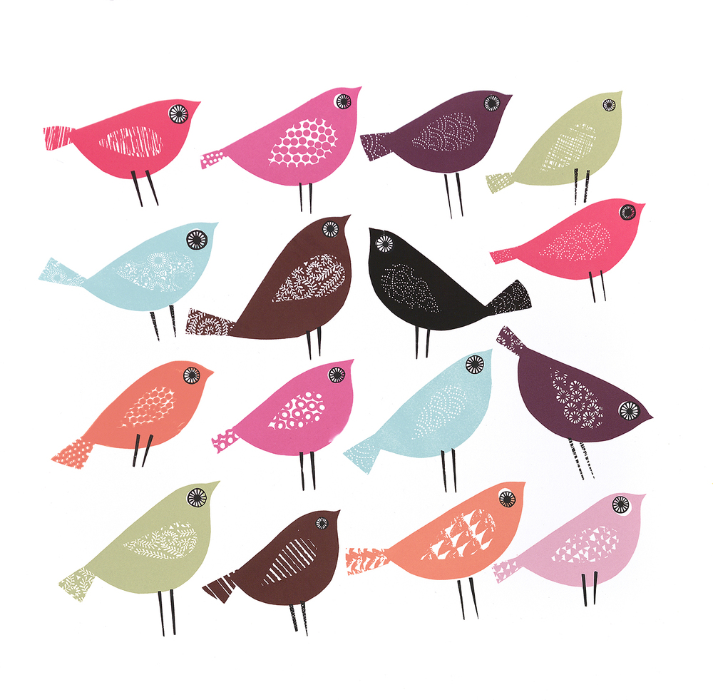 15 Birds Headed for Eastbourne,1 Headed for Westward Ho! screenprint