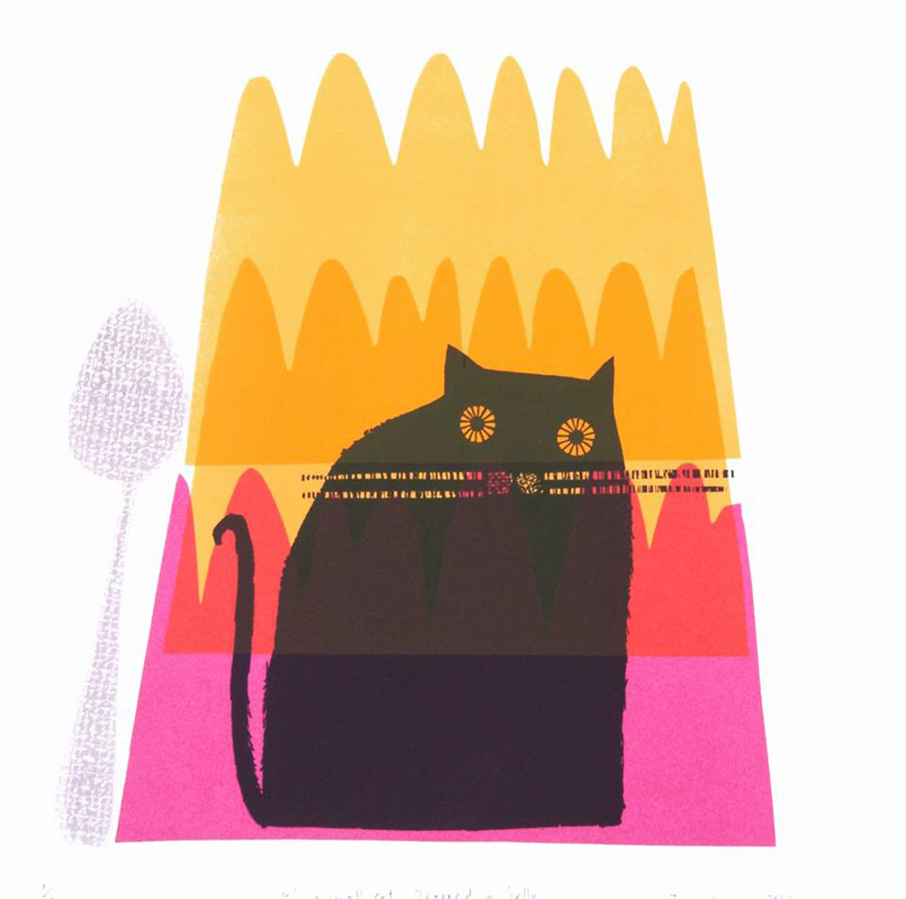 It's a Small Cat Trapped in Jelly screenprint
