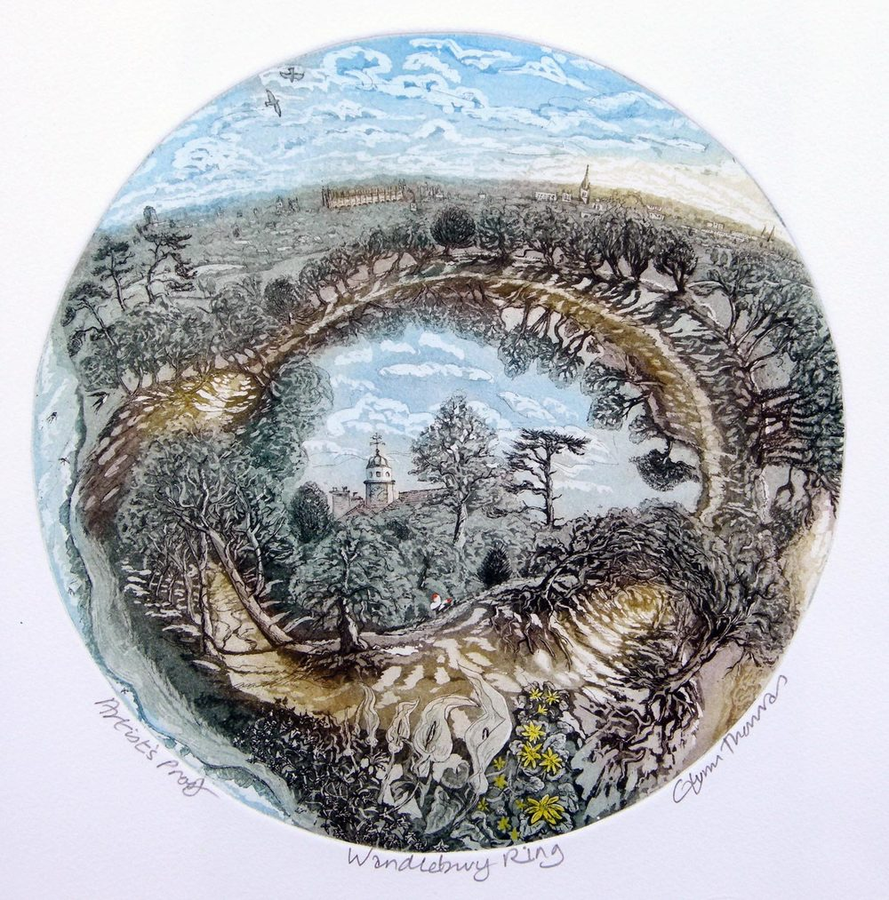 Wandlebury Ring etching 46 x 41cm £115 (unframed)