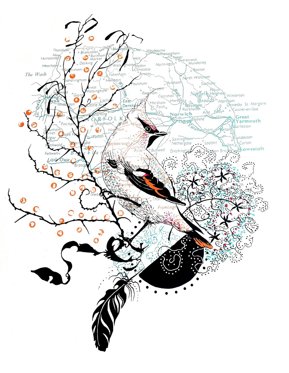 Cromer Waxwing screenprint