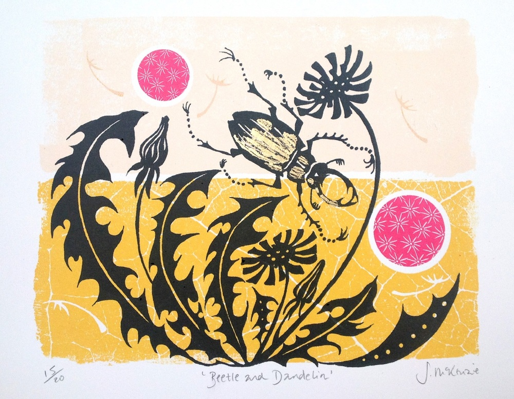 Beetle and Dandelion screenprint