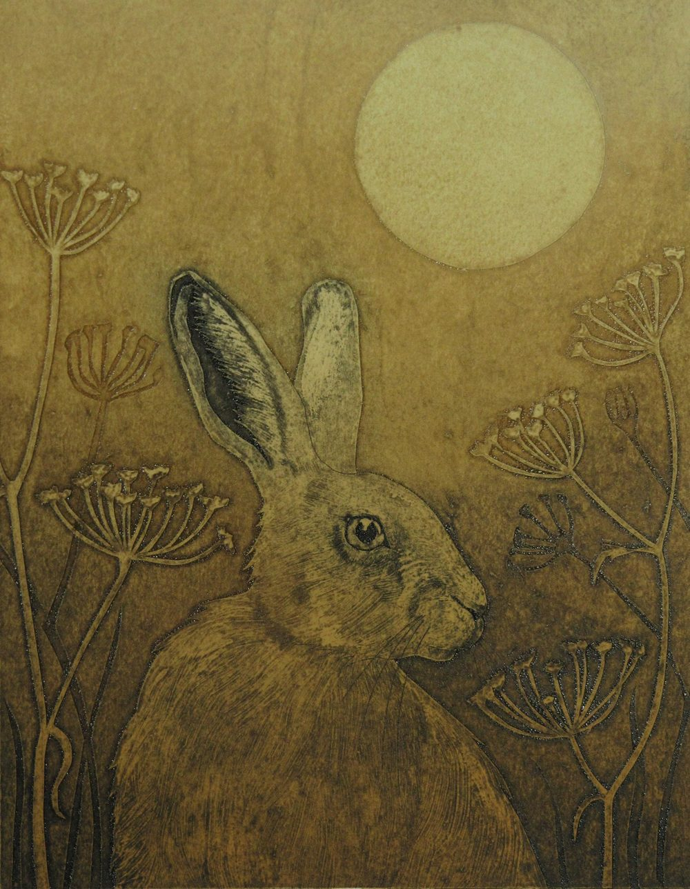 The Watcher   collagraph   EDITION SOLD OUT