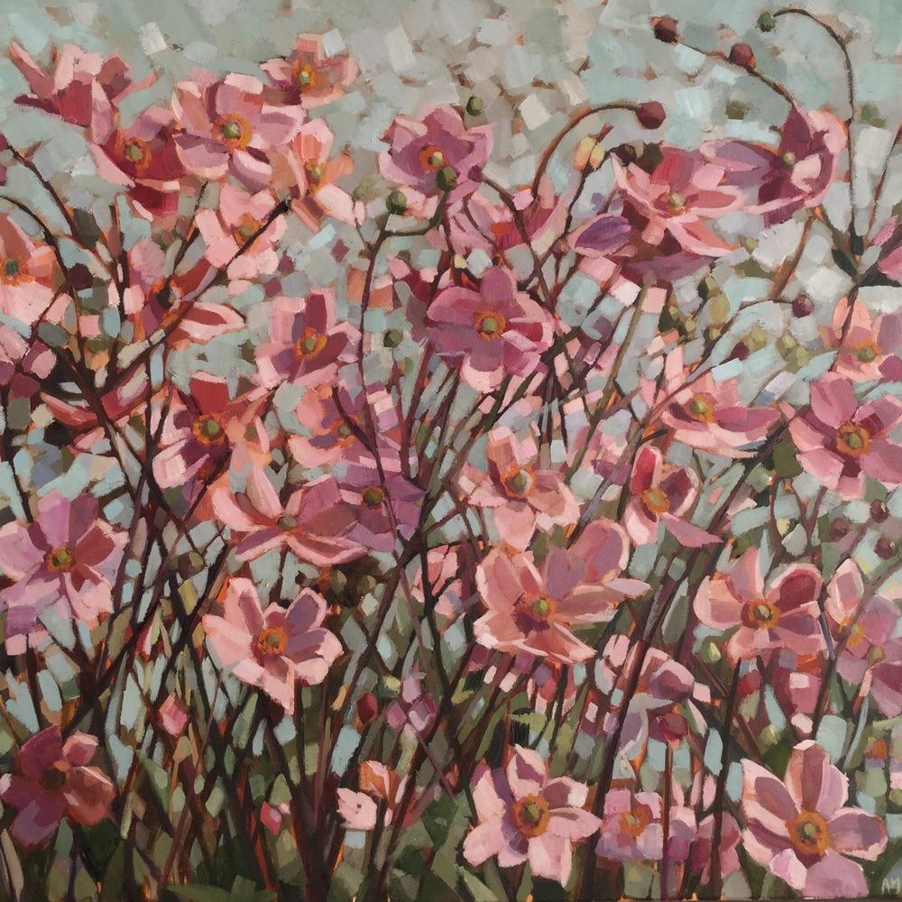 Pink Japenese Anemones oil 60 x 60 cm sol