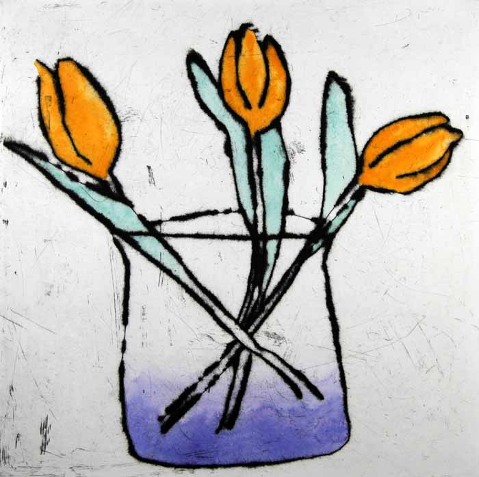 Tulip Trio drypoint and watercolour 40.5 x 40.5 cm £395 unframed