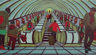 Any Given Saturday linocut 40 x 70 cm £440 (unframed)