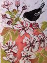 Chattering Bird linocut