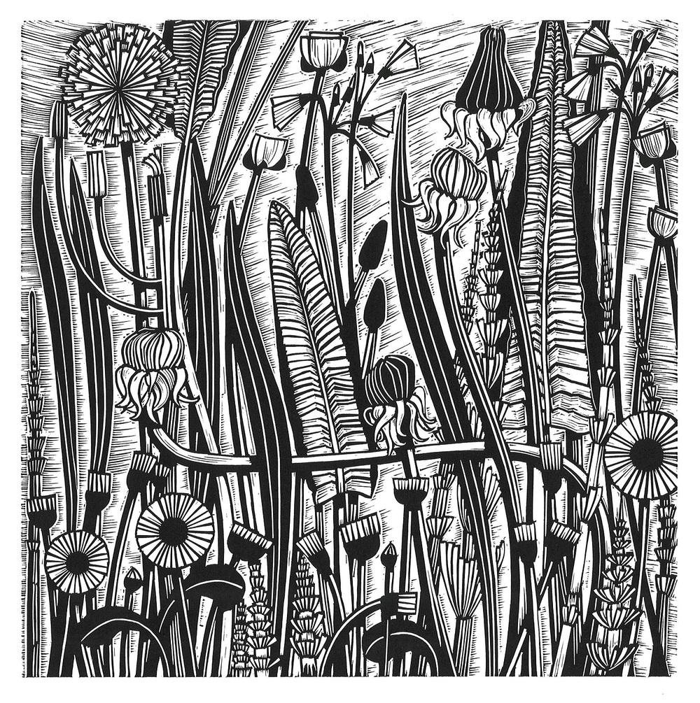 Canalside Meadow linocut