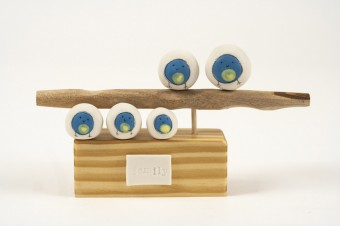 Blob Bird Family of 5 Bluetits ceramic & wood