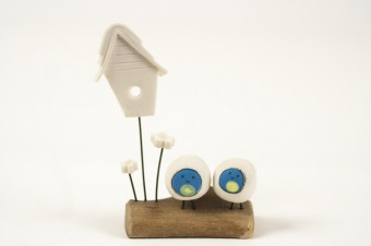 Blob Bird Love Nest Bluetits ceramic & wood