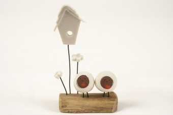 Blob Bird Love Nest Robins ceramic & wood
