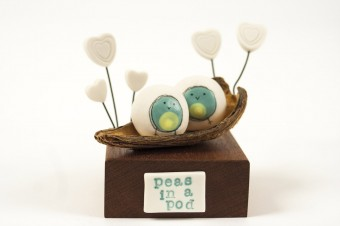 Blob Birds Peas in a Pod ceramic & wood