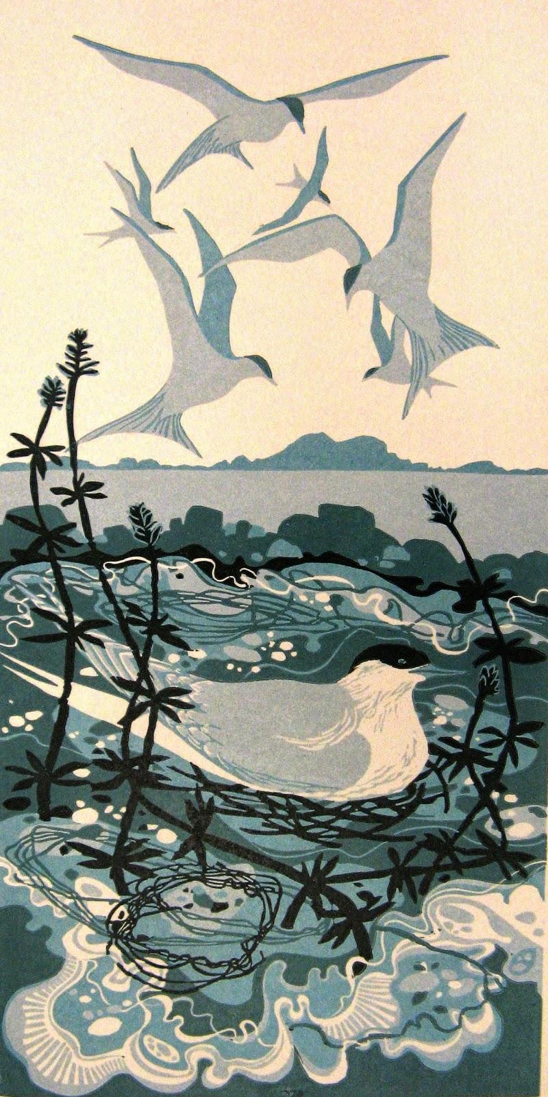 Nesting Terns linocut