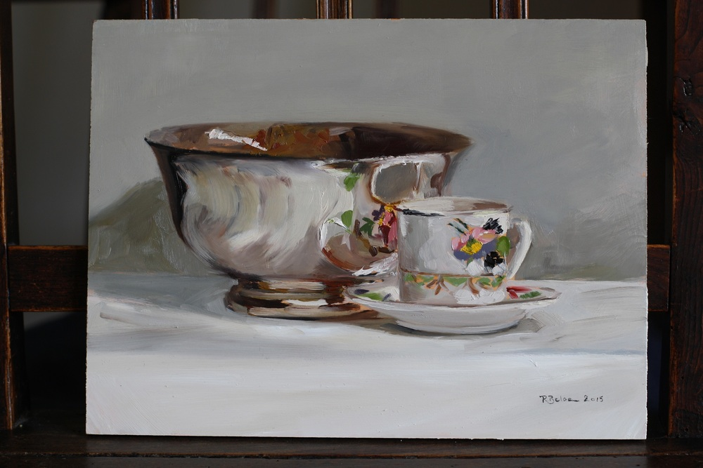 Silver Bowl and Coffee Cup oil on gesso panel sold