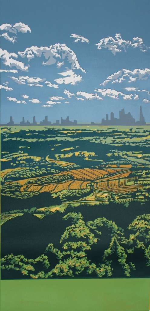 Leith Hill View  £390  reduction  linocut