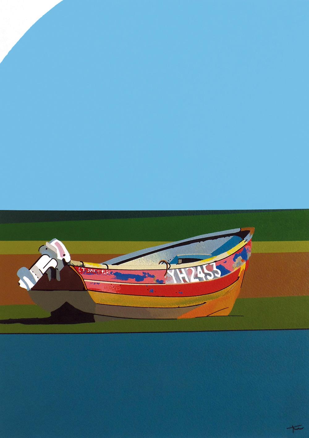 Boat At Blakeney acrylic & ink