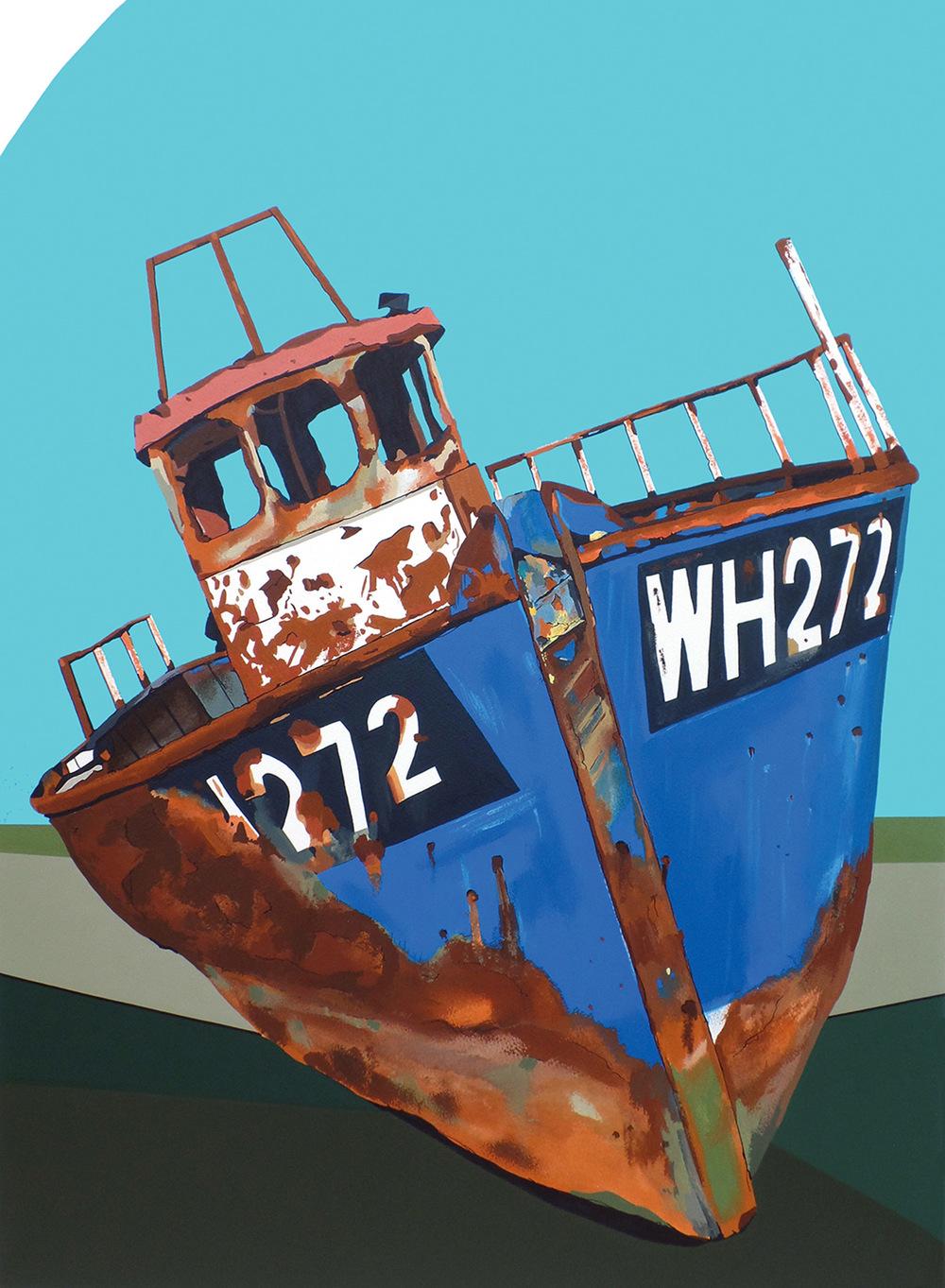 Rusting Boat Blakeney acrylic & ink