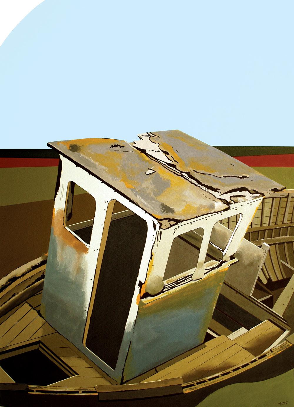 Thornham Boat acrylic & ink