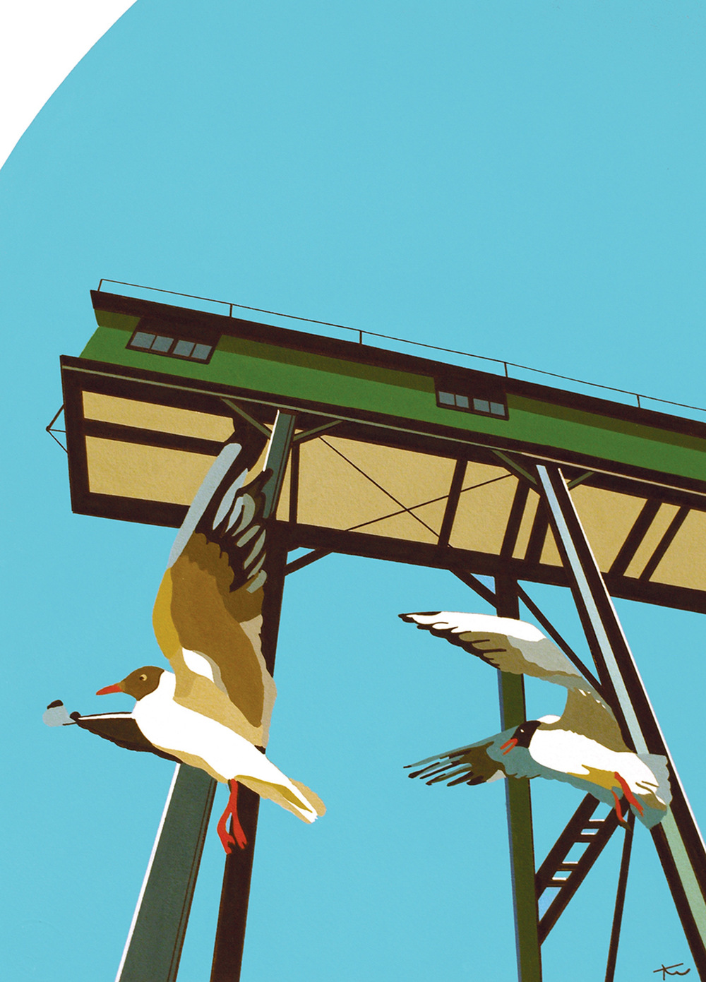 Wells Gantry And Gulls acrylic & ink