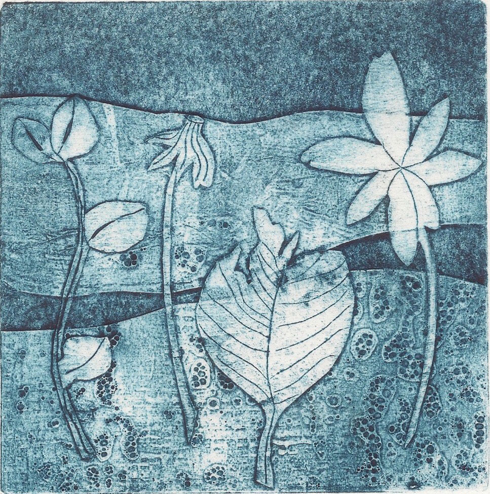 Flora collagraph 11 x 11 cm (unframed)