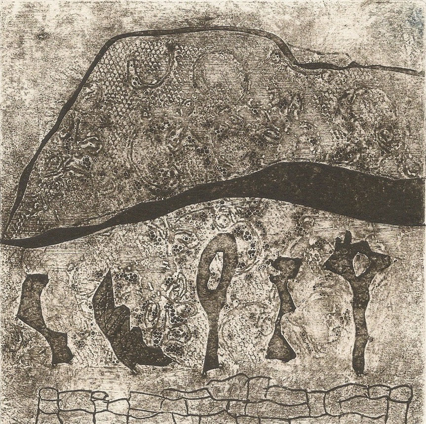Nant yr Eira, Wales collagraph 11 x 11 cm (unframed)