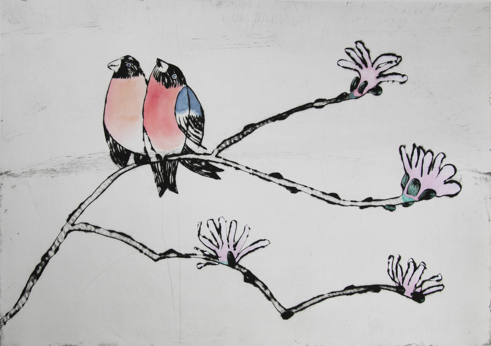 Song of Love drypoint and watercolour SOLD