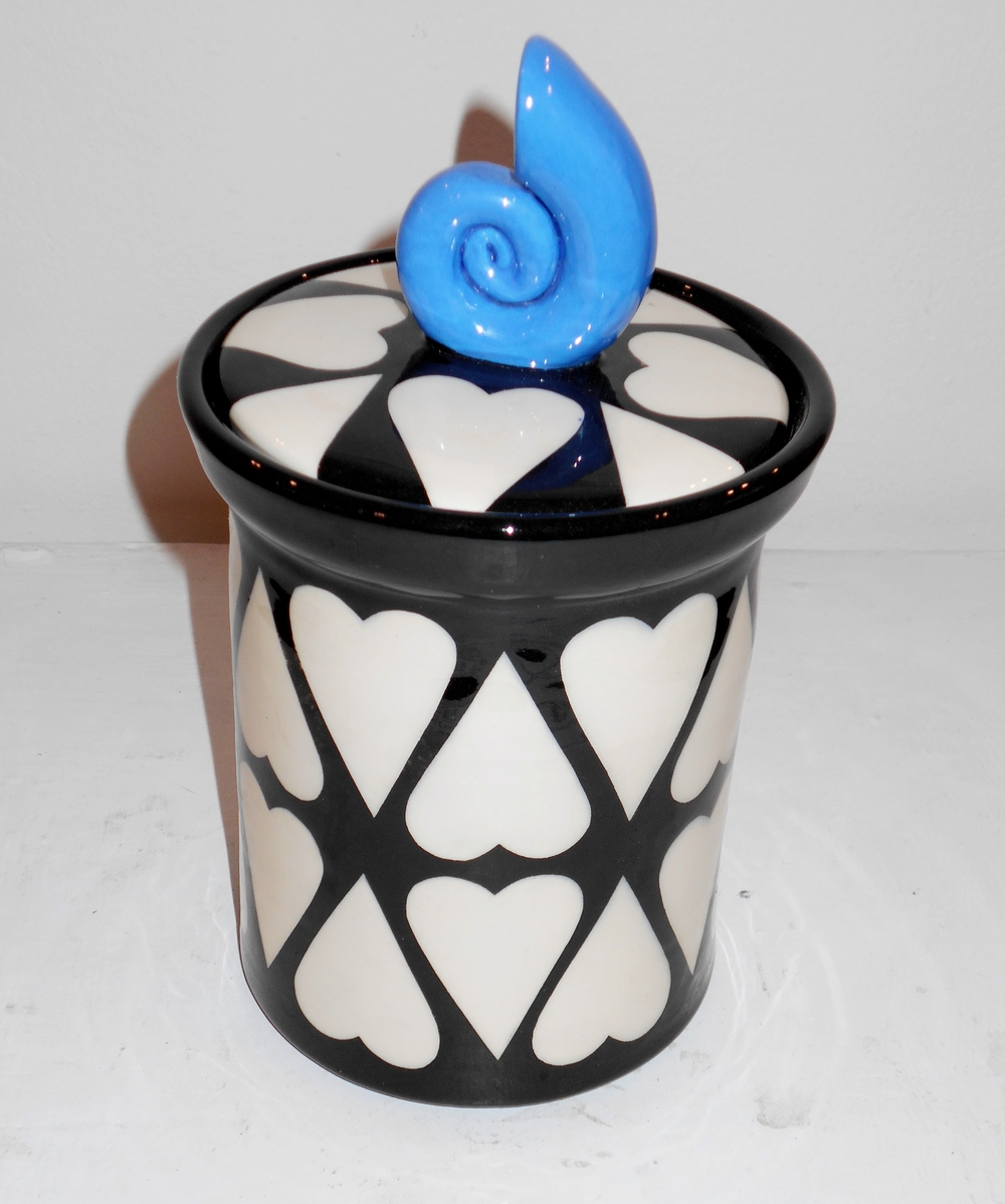 Black and White Cariad Lidded Jar  ceramic