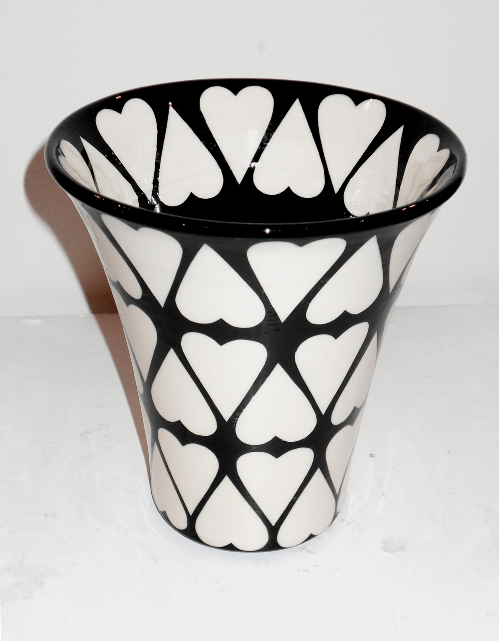 Black and White Cariad Flared Vase  ceramic