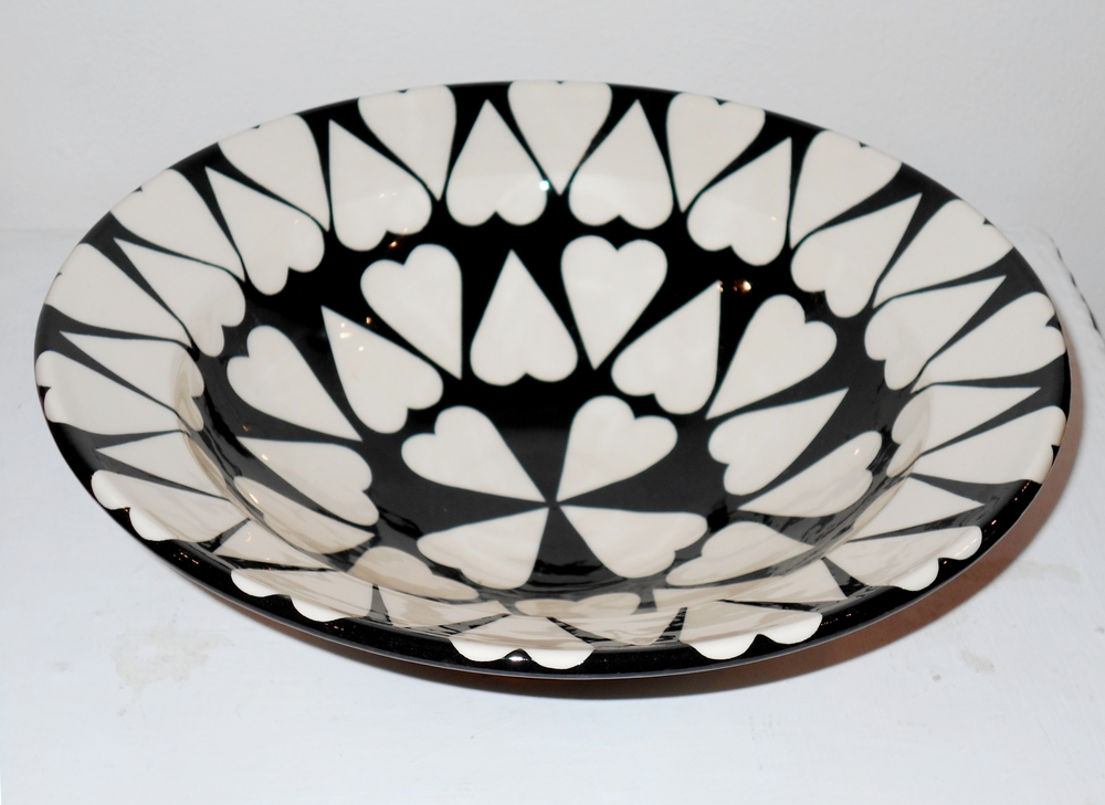 Black and White Cariad Bowl  ceramic