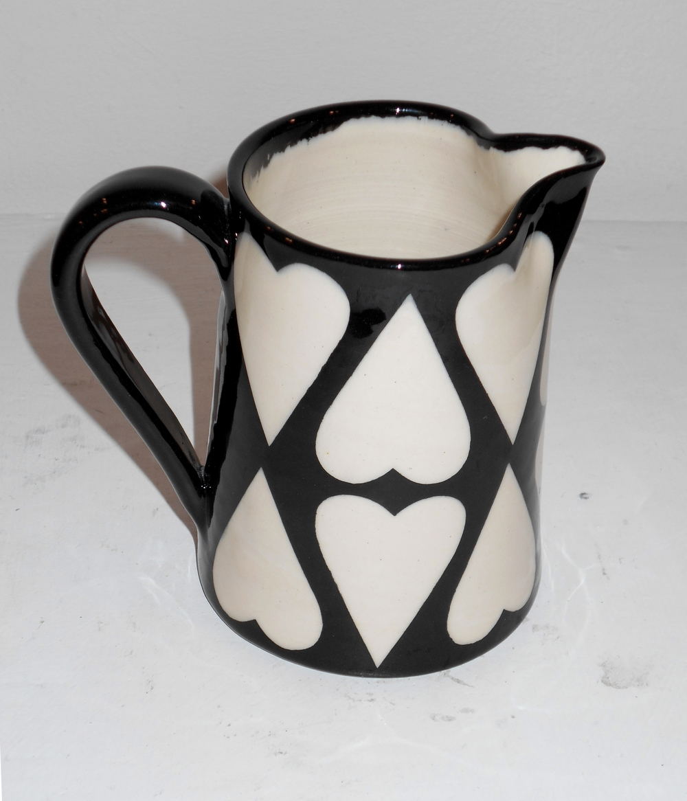 Black and White Cariad Can Jug  ceramic