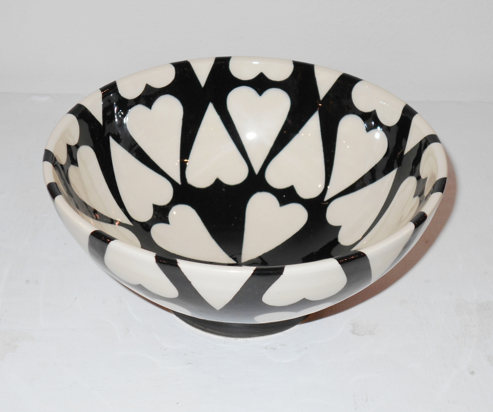 lack and White Cariad Cereal Bowl    ceramic