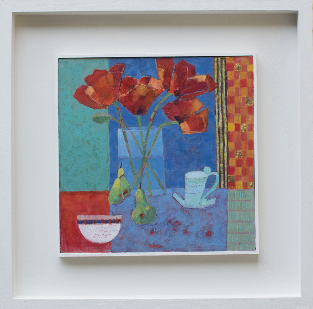 Still Life With Poppies acrylic on board 49 x 49 cm framed Sold