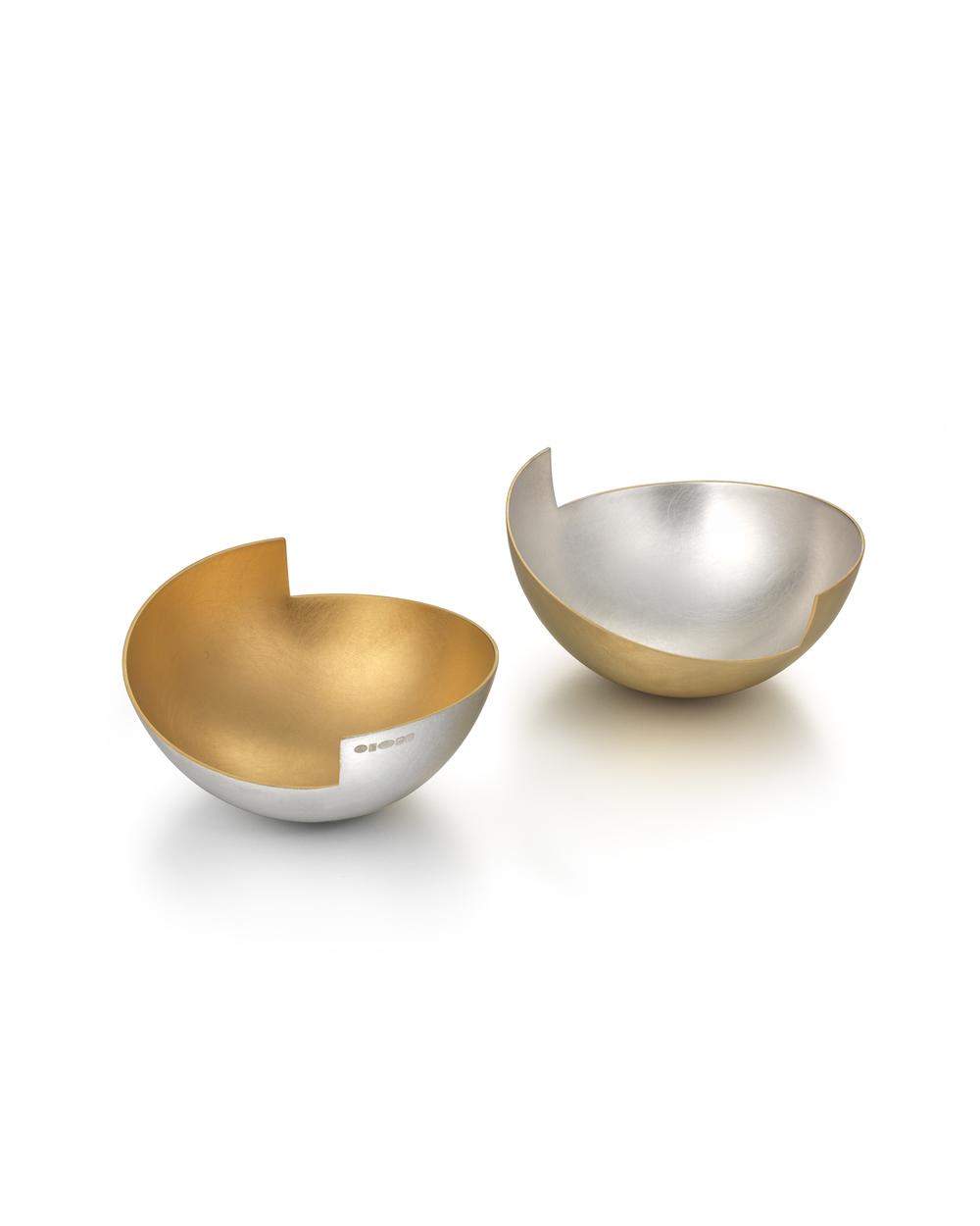 Salt & Pepper Split Bowls gilded britannia silver 4 x 8cm £1200 for both