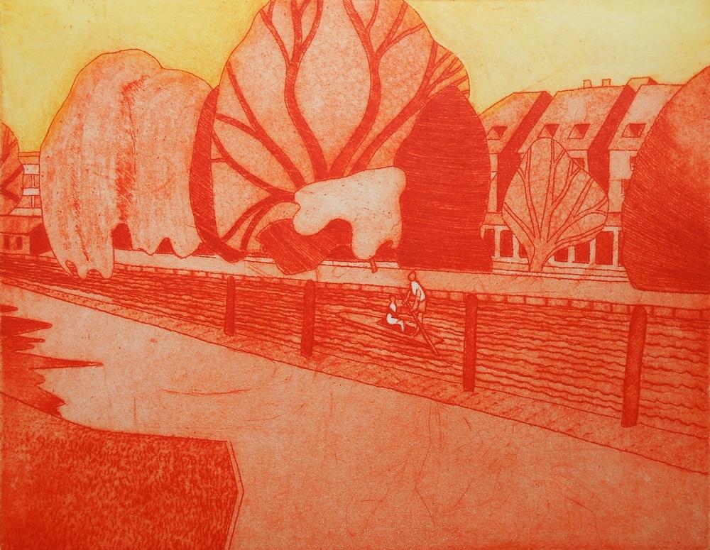 Punting   etching   29 x 23 cm  £175