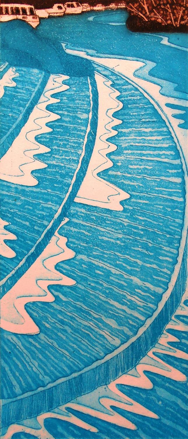 Hambedon Weir   etching   12 x 29 cm  £80