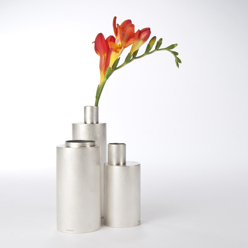 Small Vases sterling silver range from 4 x 5.5cm to 5 x 13cm range from £300 - £670