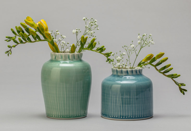 Two Grass Ruffle Vases