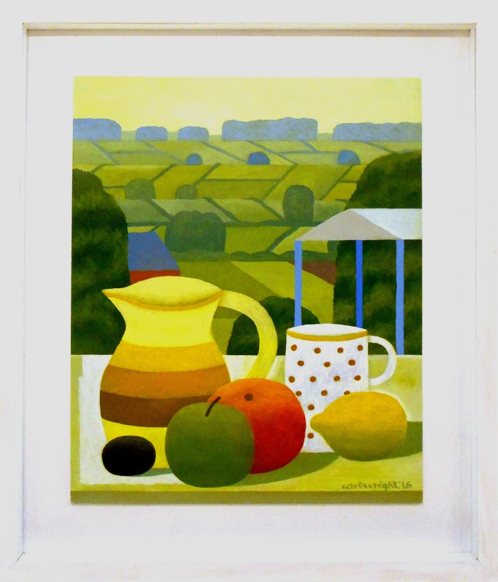 Still Life with Landscape   oil on board   35.5 x 43 cm  SOLD