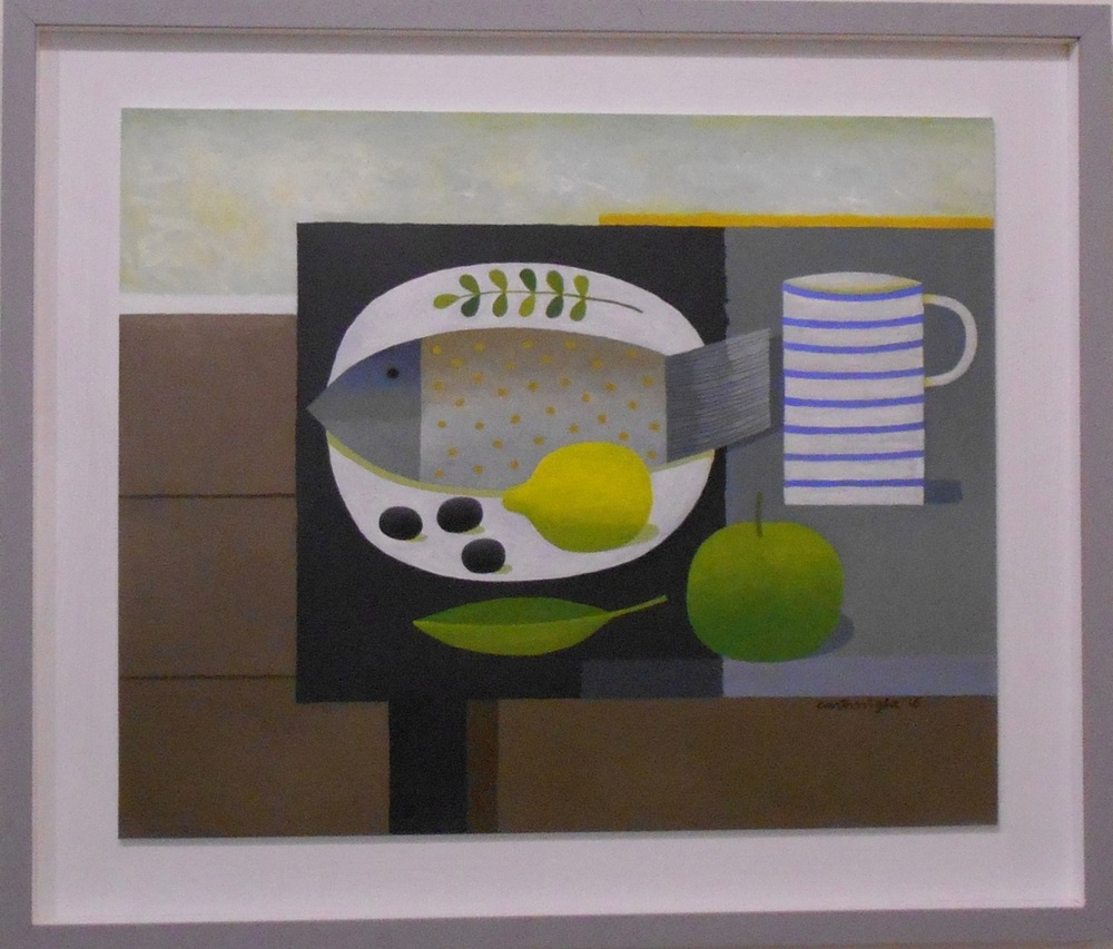 Fish with Striped Mug   oil on board   56 x 45.5 cm  SOLD
